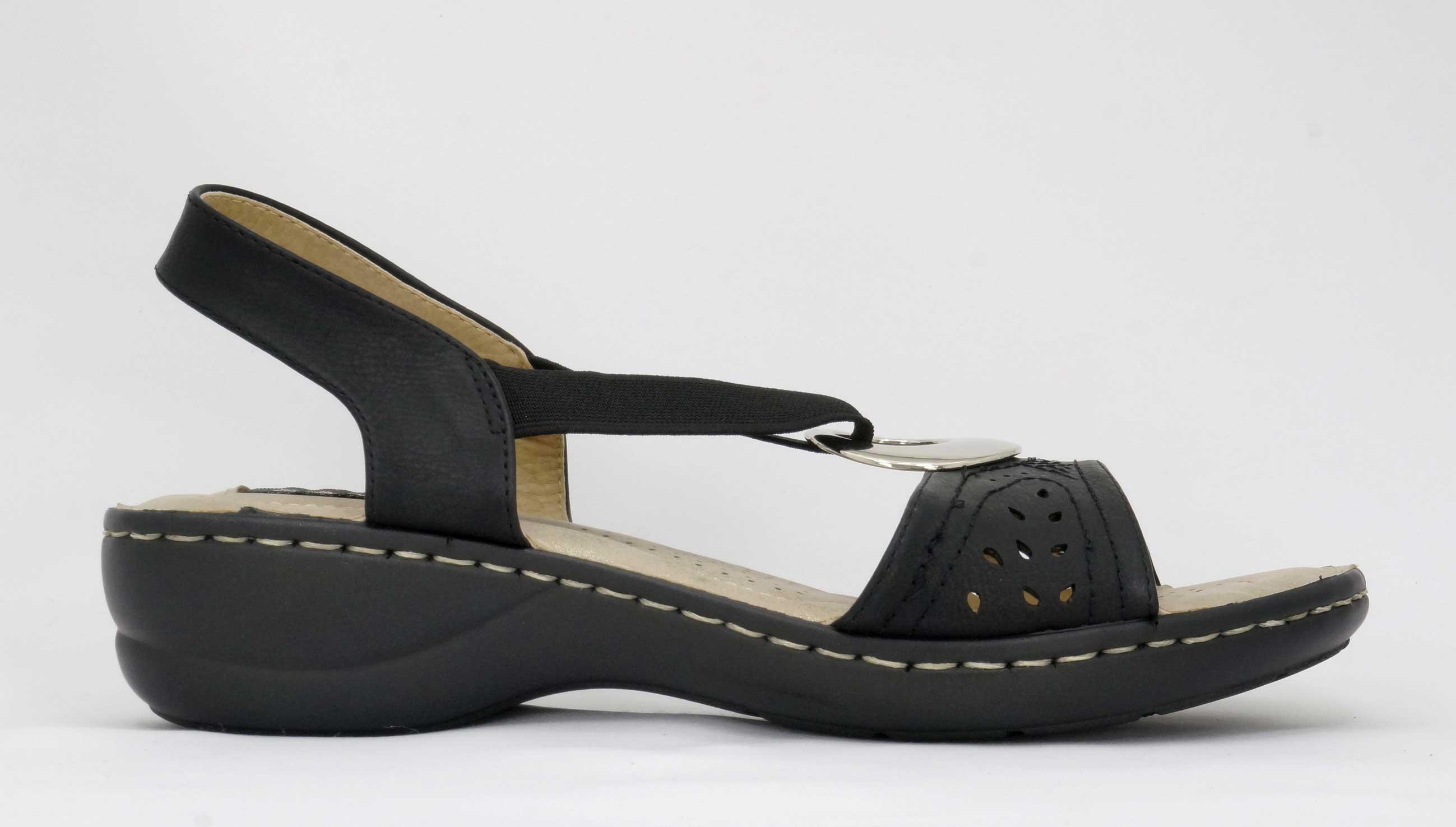 Savoy Black ladies comfort sandals with